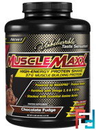 MuscleMaxx, High Energy + Muscle Building Protein, Chocolate Fudge, 5 lb (2.27 kg)