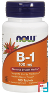 B-1, Now Foods, 100 mg, 100 Tablets