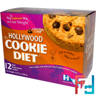 The Hollywood Cookie Diet, Chocolate Chip, Hollywood Diet, 12 Meal Replacement Cookies
