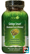 Ginkgo Smart, Maximum Focus & Memory, Irwin Naturals, 60 Liquid Soft-Gels