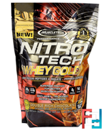 Muscletech, Nitro Tech 100% Whey Gold, Double Rich Chocolate, 1.00 lbs (454 g)