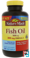 Fish Oil, Nature Made, 1,000 mg, 250 Liquid Softgels