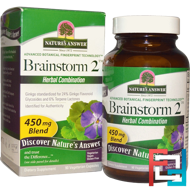 Brainstorm 2, Herbal Combination, 450 mg, Nature's Answer, 90 Vegetarian Capsules