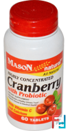 Cranberry with Probiotic, Highly Concentrated, Mason Natural, 60 Tablets