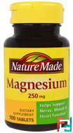 Magnesium, Nature Made, 250 mg, 100 Tablets