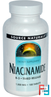 Niacinamide, B-3, Timed Release, 1,500 mg, Source Naturals, 100 Tablets