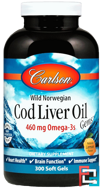 Cod Liver Oil Gems, Lightly Lemon, Carlson Labs, 1000 mg, 300 Soft Gels