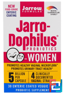Jarro-Dophilus Probiotics, For Women, Jarrow Formulas, 5 Billion, 30 Enteric Coated Veggie Caps
