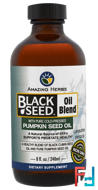 Black Seed Oil Blend with Pure Cold-Pressed Pumpkin Seed Oil, Amazing Herbs, 8 fl oz, 240 ml