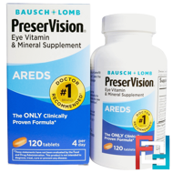 PreserVision, AREDS, Eye Vitamin & Mineral Supplement, Bausch & Lomb, 120 Tablets