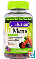 Men's Complete Multivitamin, Natural Berry Flavors, VitaFusion, 70 Gummies