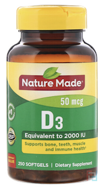D3, Nature Made, 2000 IU, 250 Softgels