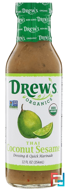 Dressing & Quick Marinade, Thai Coconut Sesame, Drew's Organics, 12 fl oz (354 ml)