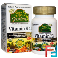 Source of Life, Garden, Vitamin K2, Nature's Plus, 60 Vegan Caps
