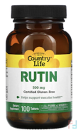 Rutin, 500 mg, Country Life, 100 Tablets