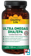 Ultra Omegas DHA / EPA, Country Life, 120 Softgels