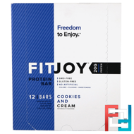 Protein Bar, Cookies and Cream, FITJOY, 12 Bars, 2.11 oz (60 g) Each