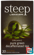 Steep, Organic Pure Green Decaffeinated Tea, Bigelow, 20 Tea Bags, 0.86 oz, 24 g