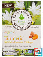 Organic Turmeric with Meadowsweet & Ginger, Traditional Medicinals, 16 Wrapped Tea Bags, 1.13 oz (32 g)