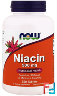 Niacin, 500 mg, Now Foods, 250 Tablets