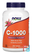 C-1000, With Rose Hips and Bioflavonoids, Now Foods, 250 Tablets