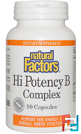 Hi Potency B Complex, Natural Factors, 90 Capsules