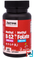 Methyl B-12 & Methyl Folate, Jarrow Formulas, 5000 mcg/800 mcg, Cherry Flavor, 60 Lozenges