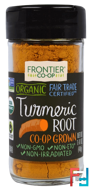 Organic Turmeric Root, Frontier Natural Products, 1.41 oz (40 g)