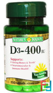 D3, 400 IU, Nature's Bounty, 100 Tablets