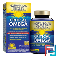 Critical Omega, Ultra-Concentrated, Natural Orange Flavor, Renew Life, 60 Enteric-Coated Softgels