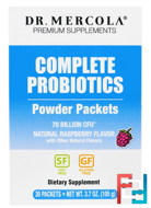 Complete Probiotics Powder Packets, Natural Raspberry Flavor, Dr. Mercola, 30 Packets, 0.12 oz (3.5 g) Each