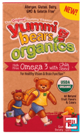 Yummi Bears Organics, Fish Free Omega 3 with Chia Seed, All Natural Fruit Flavors & Colors, Hero Nutritional Products, 90 Gummy Bears