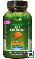 3-in-1 Carb Blocker, Maximum Strength, Irwin Naturals, 150 Liquid Soft-Gels