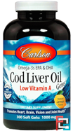 Cod Liver Oil Gems, Low Vitamin A, Natural Lemon Flavor, Carlson Labs, 1,000 mg, 300 Soft Gels