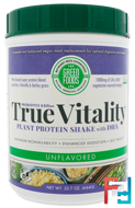 True Vitality, Plant Protein Shake with DHA, Unflavored, Green Foods Corporation, 22.7 oz (644 g)