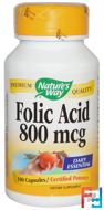 Folic Acid, 800 mcg, Nature's Way, 100 Capsules