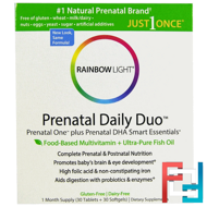 Prenatal One plus Prenatal DHA Smart Essentials, Prenatal Daily Duo, Rainbow Light, 1 Month Supply (30 Tablets + 30 Softgels)