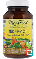 Men Over 55, Whole Food Multivitamin & Mineral, Iron Free, MegaFood, 60 Tablets