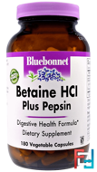 Betaine HCl, Plus Pepsin, Bluebonnet Nutrition, 180 Veggie Caps