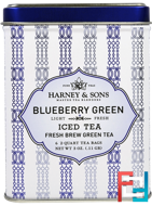 Blueberry Green Iced Tea, 6 - 2 Quart Tea Bags, Harney & Sons, 3 oz, 0.11 g
