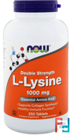 L-Lysine, Now Foods, 1000 mg, 250 Tablets