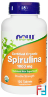 Certified Organic, Spirulina, Now Foods, 1000 mg, 120 Tablets