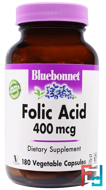 Folic Acid, 400 mcg, Bluebonnet Nutrition, 180 Veggie Caps