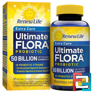 Extra Care, Ultimate Flora Probiotic, 50 Billion Live Cultures, Renew Life, 30 Vegetable Capsules