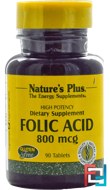 Folic Acid, 800 mcg, Nature's Plus, 90 Tablets