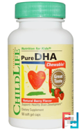 Pure DHA Chewable, Natural Berry Flavor, ChildLife, 90 Soft Gel Caps