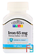Iron, 21st Century, 65 mg, 120 Tablets