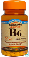 B6, High Potency, 50 mg, Sundown Naturals, 150 Tablets