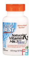 MK-7, Featuring MenaQ7 Natural Vitamin K2, 100 mcg, Doctor's Best, 60 Veggie  Caps