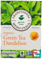 Green Teas, Organic Green Tea Dandelion, Traditional Medicinals, 16 Wrapped Tea Bags, 1.13 oz, 32 g